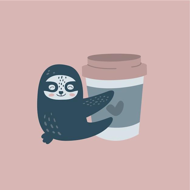 Paresse drôle et une tasse de café Vecteur Premium