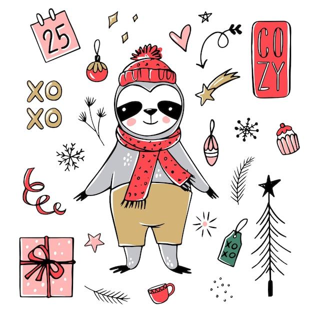 Paresseux Mignon, Collection Joyeux Noël. Doodle Ours Paresseux Paresseux Avec écharpe, Boîte-cadeau, Chapeau. Bonne Année Et Ensemble D'animaux De Noël. Vecteur Premium