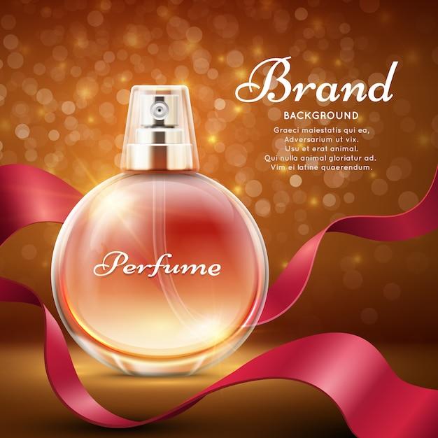Parfum Doux Avec Fond De Cadeau Romantique Ruban De Soie Rouge. Vecteur Premium