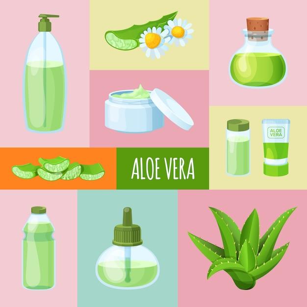 Parfums D'aloe Vera, Crème, Savon, Herbe, Bannière De Feuille Et Icône Pour Le Web. Vecteur Premium