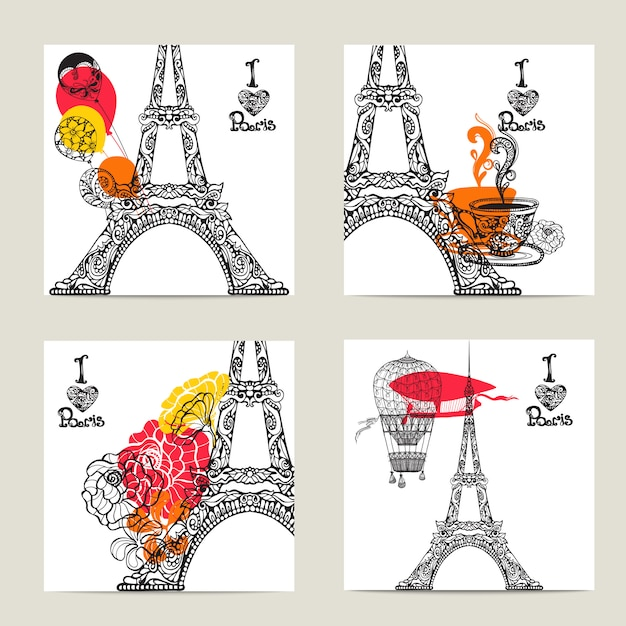 Paris card set Vecteur gratuit