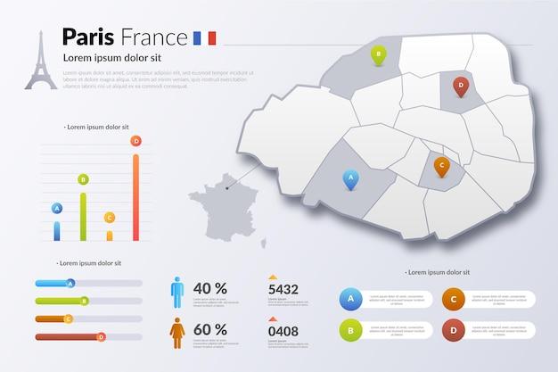 Paris France Carte De Dégradé Infographique Vecteur gratuit
