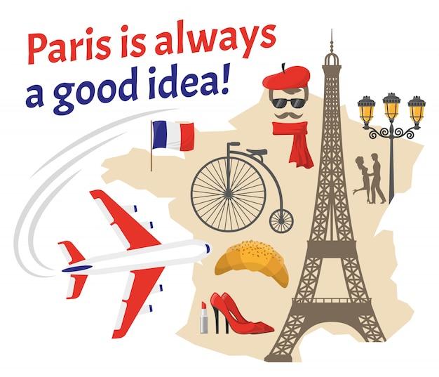 Paris icônes plat décoratif Vecteur gratuit