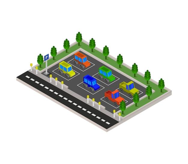Parking Isométrique Vecteur Premium