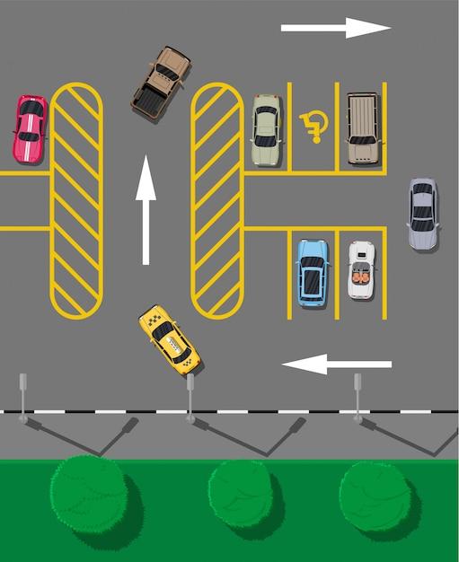 Parking De La Ville Avec Différentes Voitures Vecteur Premium
