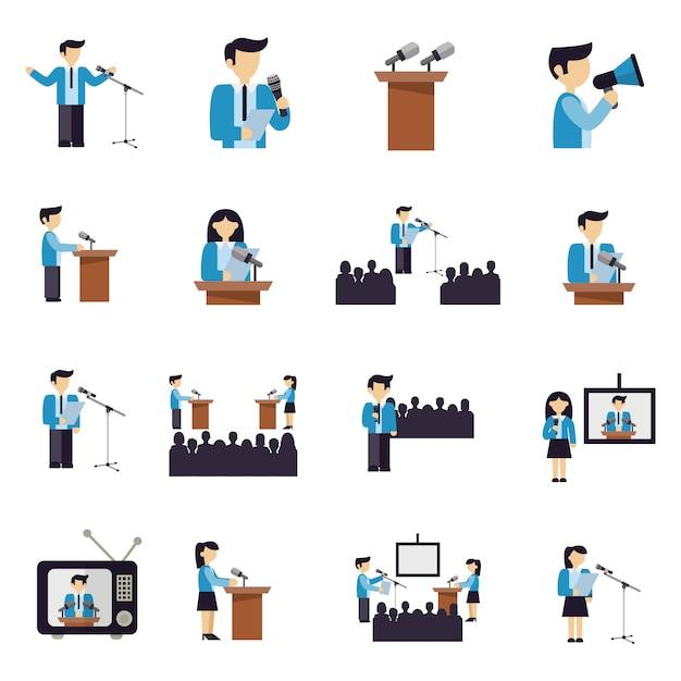 Parler En Public Icônes Plat Vecteur gratuit