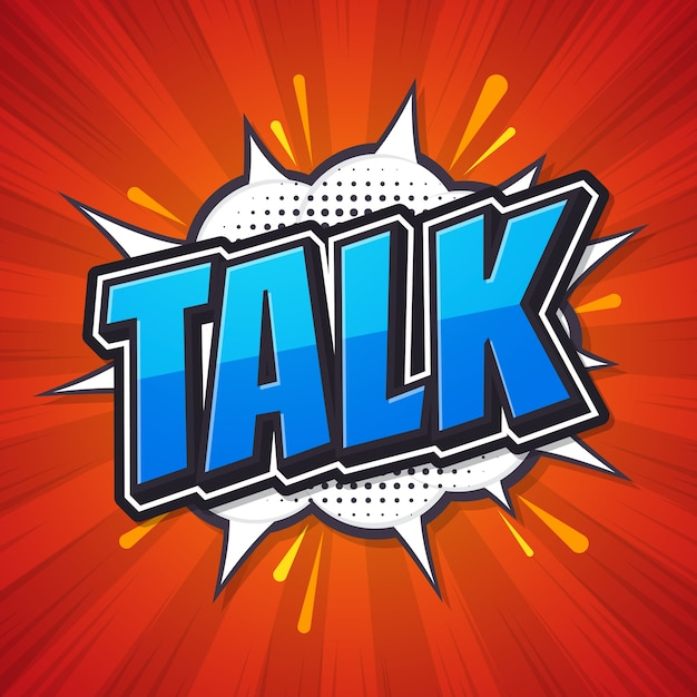 Parlez, Bulle De Dialogue Comique. Vecteur Premium