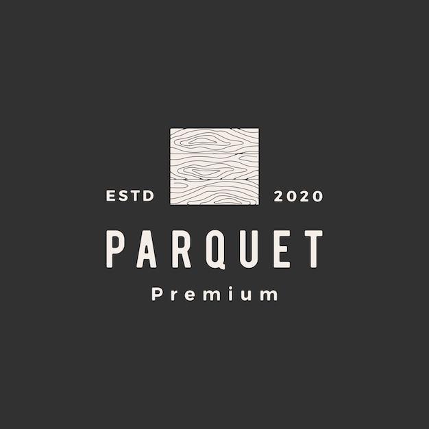 Parquet Bois Vinyle Tuile De Granit Bois Franc Hipster Vintage Logo Icône Illustration Vecteur Premium