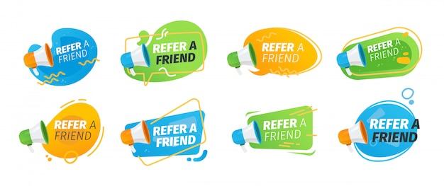 Parrainez Un Ami Collection D'icônes Plates Vecteur gratuit