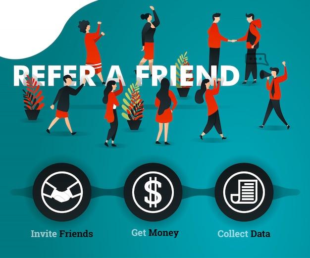 Parrainez un ami concept de page de destination verte Vecteur Premium