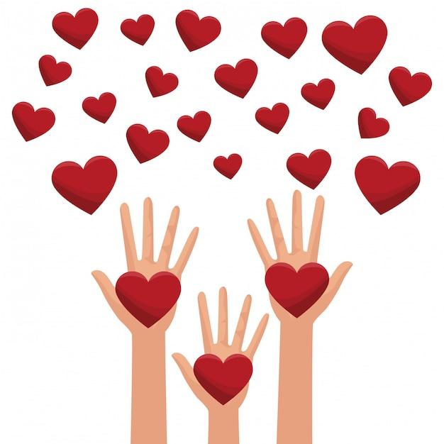 Partage de la charité et amour Vecteur Premium