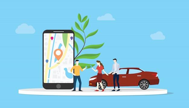 Partage de voiture en ligne pour le transport en ville avec une application pour smartphone Vecteur Premium