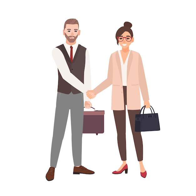 Partenaires Commerciaux Masculins Et Féminins, Employés Ou Employés De Bureau Se Serrant La Main. Coopération Professionnelle Entre Collègues, Partenariat, Accord. Vecteur Premium