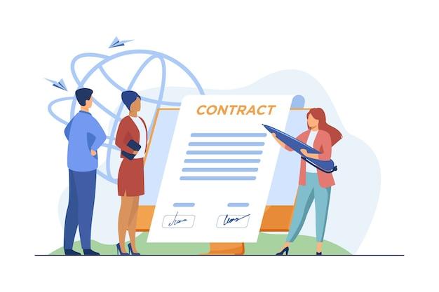 Partenaires Commerciaux Signant Un Contrat En Ligne. Dirigeants Apposant Des Signatures Sur Le Document Sur L'illustration Vectorielle Plane Du Moniteur. Internet, Accord Vecteur gratuit