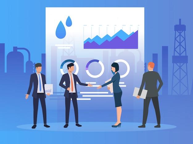 Partenaires commerciaux travaillant et discutant de problèmes, de diagrammes Vecteur gratuit