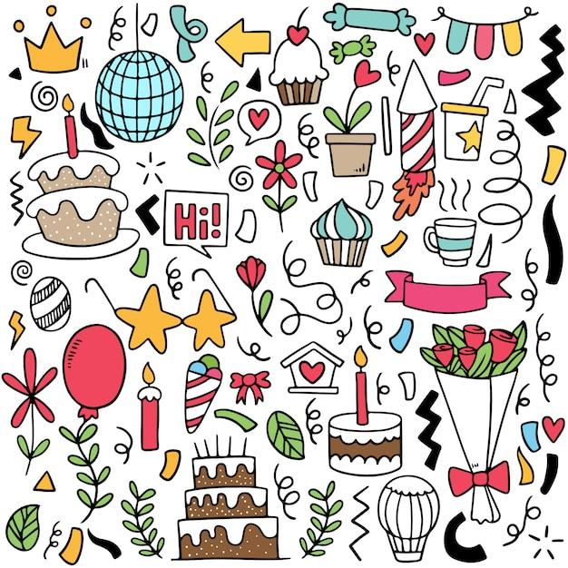 Parti dessiné main doodle joyeux anniversaire motif de fond d'ornements Vecteur Premium