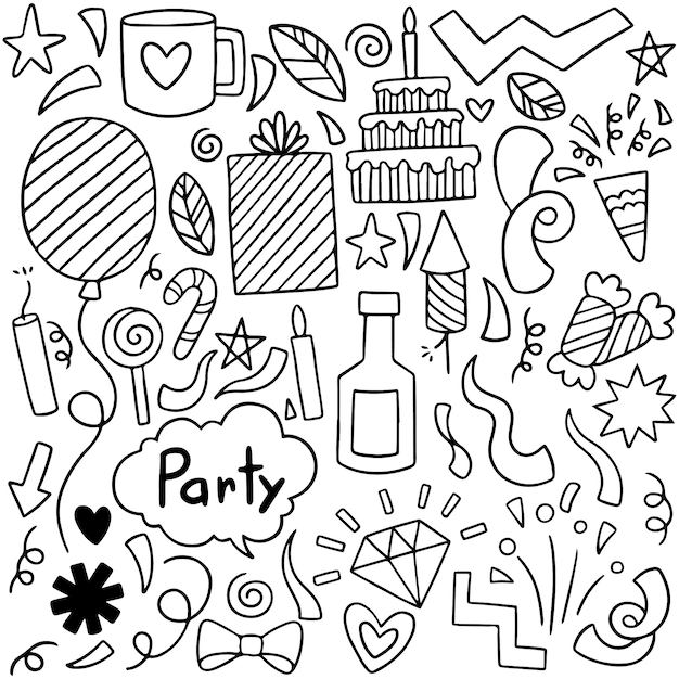 Parti dessiné à la main doodle joyeux anniversaire Vecteur Premium