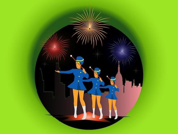 Parti avec feux d'artifice et des pom-pom girls Vecteur gratuit