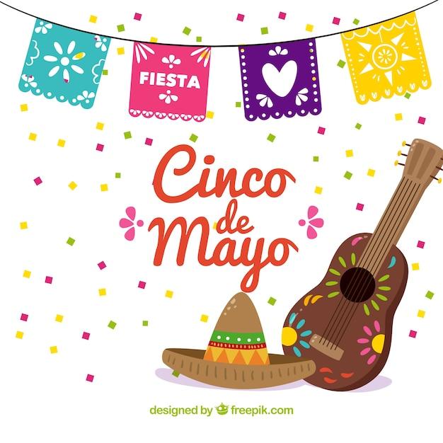 Parti fonds cinco de mayo avec un chapeau mexicain et guitare Vecteur gratuit