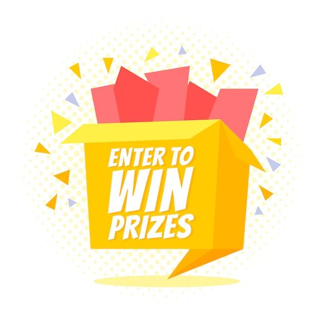 Participez Pour Gagner Un Coffret Cadeau. Style Origami De Dessin Animé Vecteur Premium
