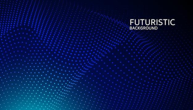 Particule d'onde numérique abstraite sur fond bleu Vecteur Premium