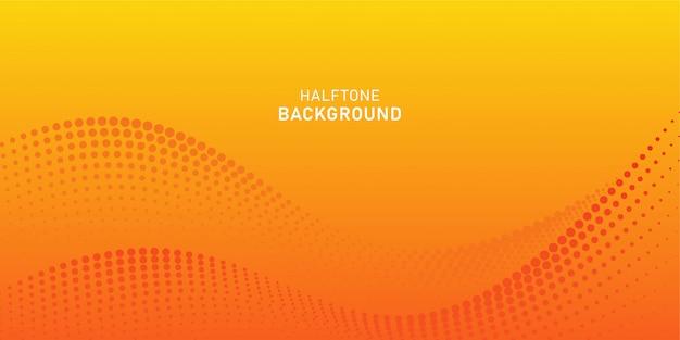 Particule D'onde Numérique Abstraite Sur Fond Orange Vecteur Premium