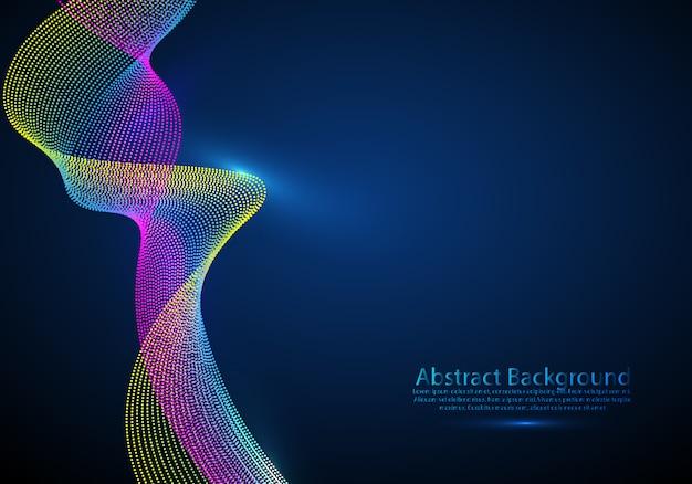 Particules 3d maille son réseau d'ondes qui coule. Vecteur Premium