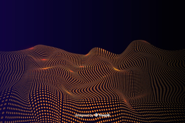 Particules abstraites dorées net sur fond sombre Vecteur gratuit