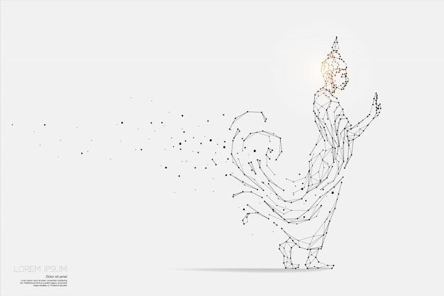 Les particules, l'art géométrique, la ligne et le point de bouddha. Vecteur Premium