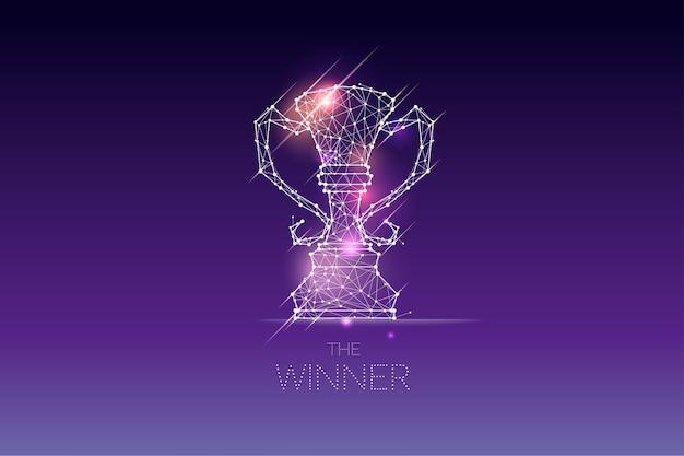 Les particules, l'art géométrique, la ligne et le point du trophée du vainqueur Vecteur Premium