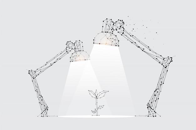 Les particules, l'art géométrique, la ligne et le point de l'éclairage de la lampe. Vecteur Premium