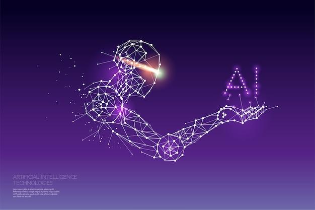 Les particules, l'art géométrique, la ligne et le point de la technologie ai. Vecteur Premium
