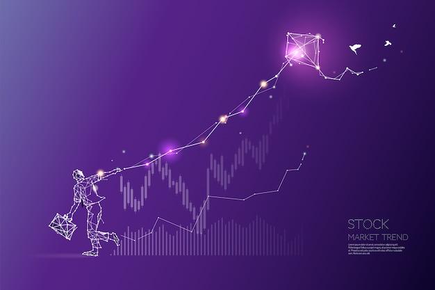 Les particules, l'art géométrique, la ligne et le point de la tendance du marché boursier Vecteur Premium