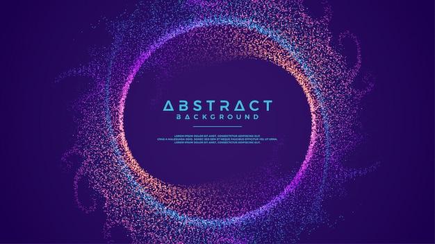 Les particules de flux abstrait dynamique cercle fond. Vecteur Premium