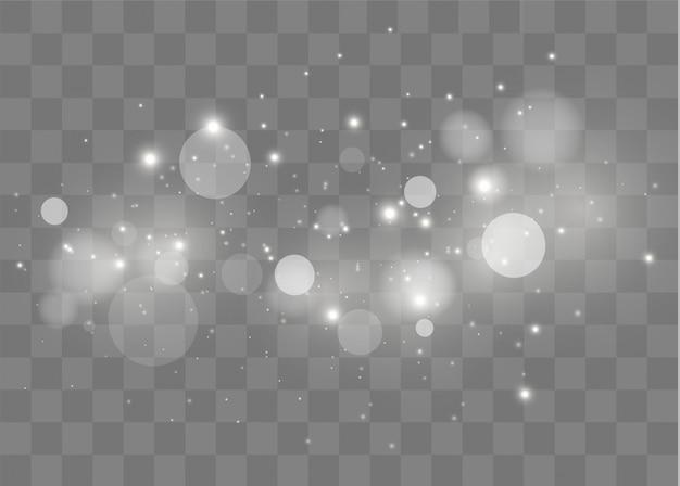Des Particules De Poussière Magiques Scintillantes.des étincelles Blanches Scintillent D'un Effet De Lumière Spécial. Vecteur Premium