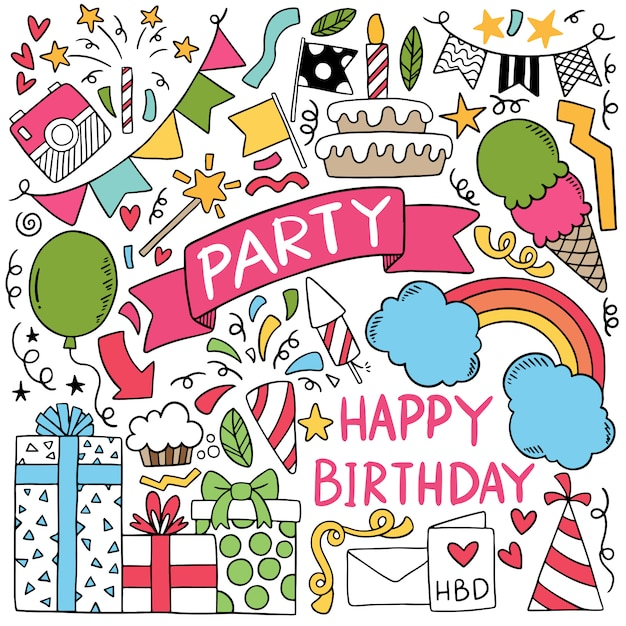 Partie dessinée à la main doodle joyeux anniversaire illustration d'ornements Vecteur Premium