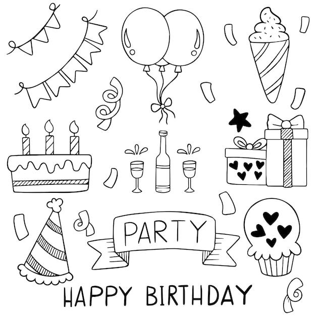 Partie de dessinés à la main doodle joyeux anniversaire motif de fond d'ornements Vecteur Premium