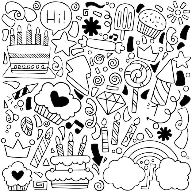 Partie Doodle Carte De Voeux Joyeux Anniversaire Avec Des