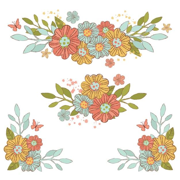 Partie De Fleurs Décorative Bouquet De Printemps Vecteur Premium