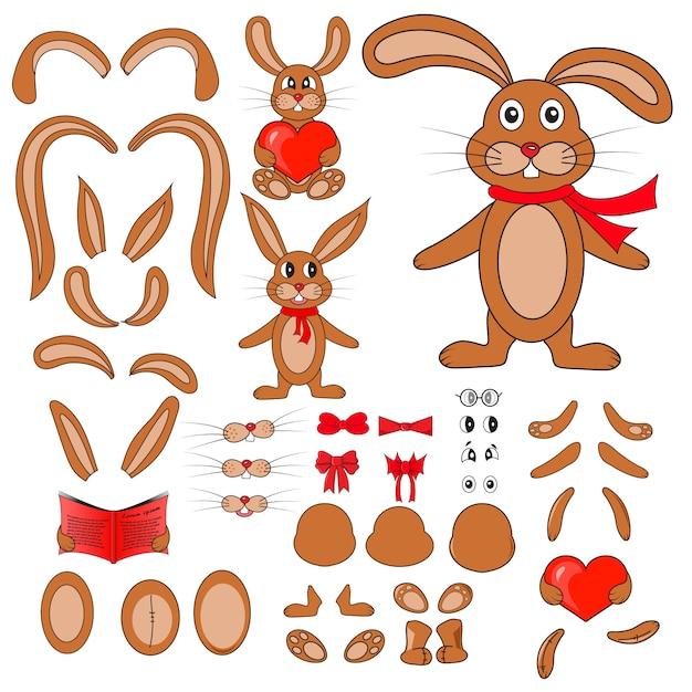 Parties du corps du lapin en vecteur Vecteur Premium