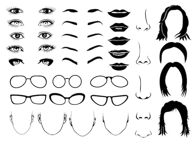 Parties du visage de femme, oeil, lunettes, lèvres et cheveux. éléments féminins vectoriels pour constructeur portrait illus Vecteur Premium