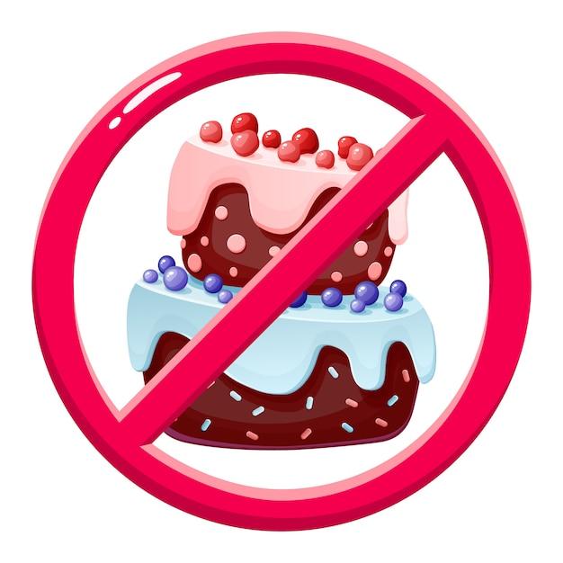 Pas de gâteau. dessert interdit. Vecteur Premium