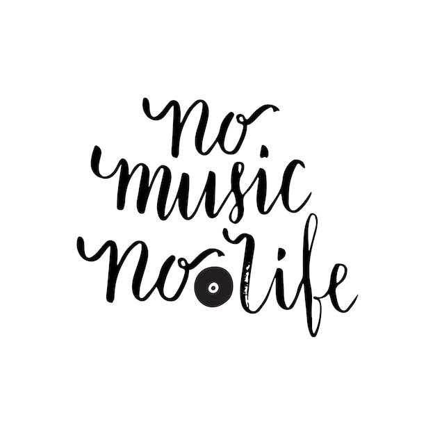 Pas De Musique, Pas De Vie Citation Inspirante Sur La Musique. Affiche De Lettrage Pour école De Musique Ou Carte De Voeux. Phrase De Vecteur Vecteur Premium