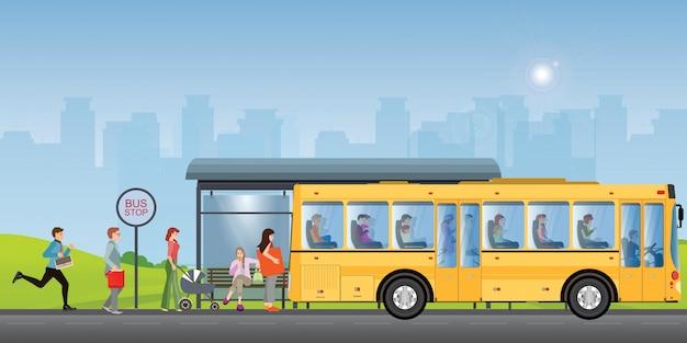Passagers à L'arrêt De Bus. Vecteur Premium