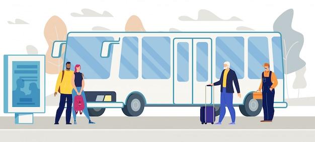 Passagers en attente de bus sur le vecteur d'arrêt de bus de la ville Vecteur Premium