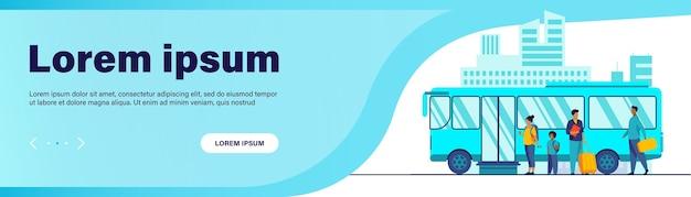 Les Passagers En Attente De Bus En Ville. File D'attente, Ville, Illustration Vectorielle Plane Route Vecteur gratuit