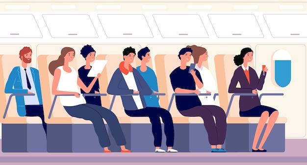 Passagers En Avion Vecteur Premium