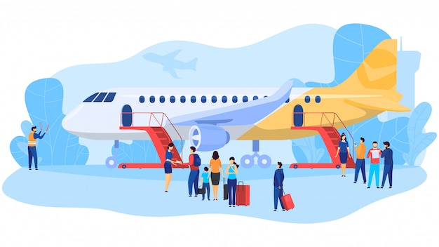 Passagers, Embarquement, Avion, Gens, Aéroport, Illustration Vecteur Premium