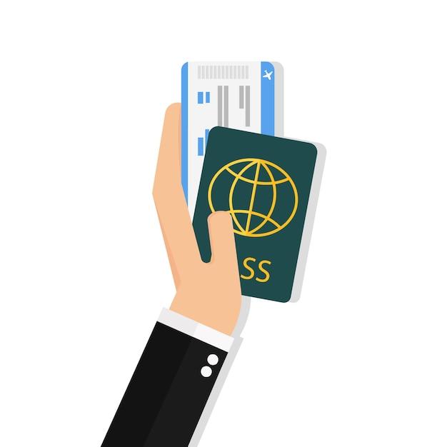 Passeport et billet d'avion Vecteur Premium