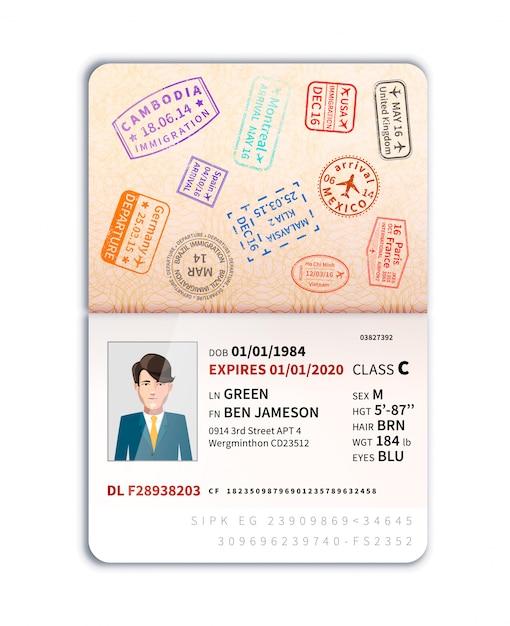 Passeport étranger avec photo d'homme et beaucoup de timbres frontaliers Vecteur Premium